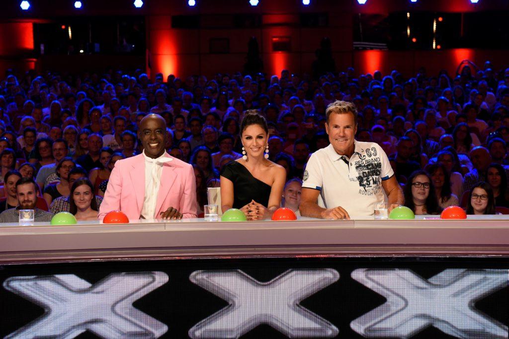 """Bruce Darnell, Nazan Eckes und Dieter Bohlen (v.l.) sitzen in der neuen Jury der elften Staffel """"Das Supertalent""""."""