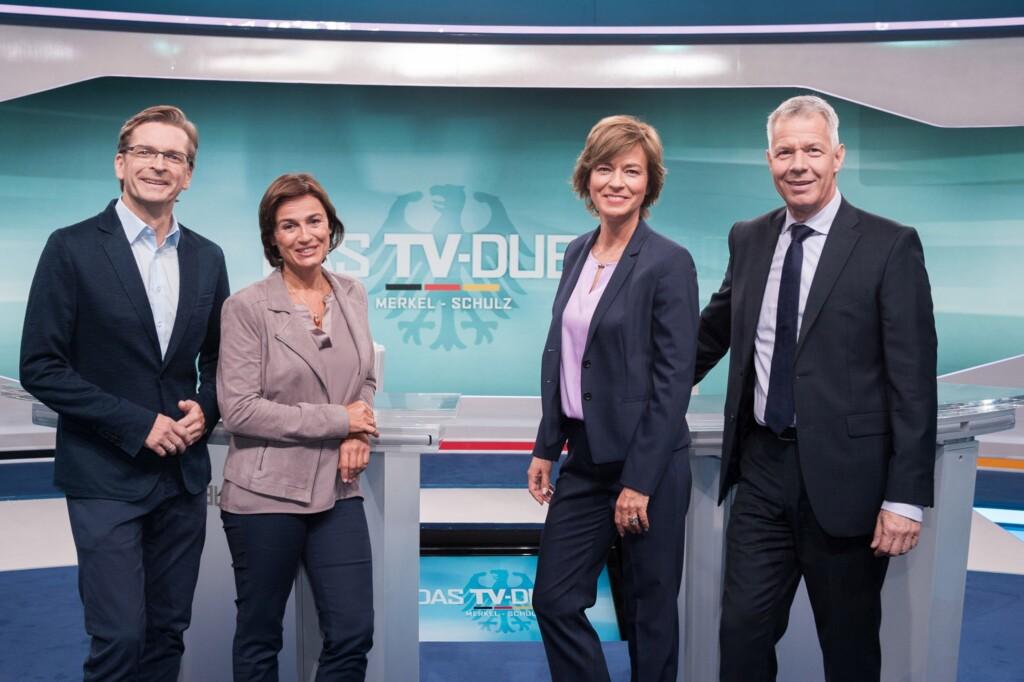 Claus Strunz (SAT.1), Sandra Maischberger (ARD), Maybrit Illner (ZDF), Peter Kloeppel (RTL)
